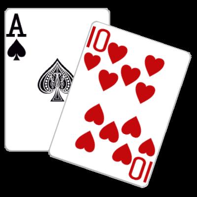 Kaartspel 21 voorbeeld van 21 met aas en tien